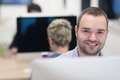 Startup business, software developer working on desktop computer Royalty Free Stock Photo