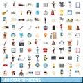 100 startup icons set, cartoon style