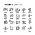 Startup, launch business, workflow, new product start up, research thin line vector icons