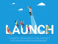 Startup launch concept illustration of business people working together as team