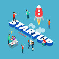 Startup spaceship launch flat 3d isometric big word concept vector