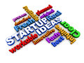 Startup words ideas on white related to a new business setup idea Stock Photography