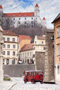 Stary hrad ancient castle and vintage car on old street in bratislava slovakia Stock Image