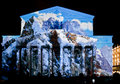 State academic bolshoi theatre opera and ballet illuminated for international festival circle of light moscow october Royalty Free Stock Photo