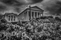 State Capital Building Sitting High on a Hill in Black and White HDR Royalty Free Stock Photo
