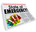 State of Emergency Newspaper Headline Top Story Big Crisis Royalty Free Stock Photo
