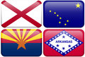 State Flag: Alabama, Alaska, Arizona, Arkansas Stock Photography