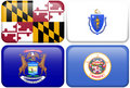 State Flags: Maryland, Massachusetts, Michigan, MN Royalty Free Stock Image