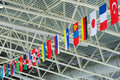 State flags under stadium ceiling Royalty Free Stock Photo
