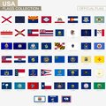 State flags of United States of America, official vector flags collection Royalty Free Stock Photo