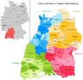 State of germany baden wurttemberg administrative division map with cities and districts Stock Photography