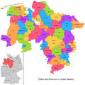 State of germany lower saxony administrative division map with cities and districts Stock Photos