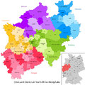 State of germany north rhine westphalia administrative division map with cities and districts Stock Photography