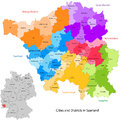 State of germany saarland administrative division map with cities and districts Stock Photography
