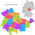 State of germany thuringia administrative division map with cities and districts Stock Photos