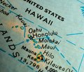 State of Hawaii map USA  focus macro shot on globe for travel blogs, social media, web banners and backgrounds. Royalty Free Stock Photo