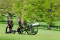 State opening of parliament in london uk may th the king s troop green park ready to remove his cannons after firing gun salutes Royalty Free Stock Image
