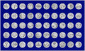 State quarters illustration of all with silvery grunge appearance a blue background and assorted by statehood and year of release Stock Photography