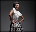 Stately fascinating woman in classic elegant blouse and skirt aristocracy pretty Royalty Free Stock Images
