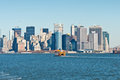 Staten Island Ferry with New York City Skyline Royalty Free Stock Photo