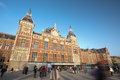 Station de train centrale - Amsterdam, Hollandes Photos libres de droits