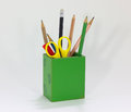 Stationary a green box contains stationaries Royalty Free Stock Photography