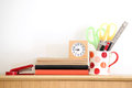 Stationary at home office white wall background Stock Photo