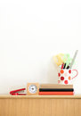 Stationary at home office white wall background Stock Images