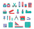 Stationary set vector st of sattionary color green and red Royalty Free Stock Photography