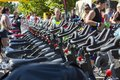 Stationary spinning bikes rows of over aligned during a public cycling event on september in bucharest romania Stock Images