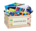 Stationary supplies donations box Royalty Free Stock Photo