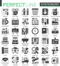 Stationery black mini concept symbols. Office tools modern icon pictogram vector illustrations set. Royalty Free Stock Photo