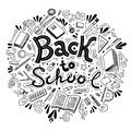 Stationery collection. Outline style. Back to school thin line vector doodle illustration template isolated on white