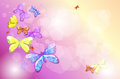 A stationery with colorful butterflies illustration of Stock Photography