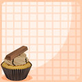 A stationery with a cupcake with chocolate toppings illustration of Royalty Free Stock Images
