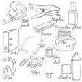 Stationery Hand drawn sketched illustration. Doodle accessories
