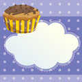 A stationery with a mocha flavored cupcake illustration of Stock Photo