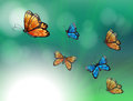 A stationery with orange and blue butterflies illustration of Royalty Free Stock Image