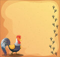 A stationery with a rooster illustration of Royalty Free Stock Photography