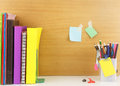 Stationery set with book arrange in row,group of color pencil an Royalty Free Stock Photos