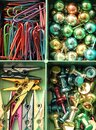 Stationery set. Paper clips, clothespins, push pins Royalty Free Stock Photo