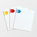 Stationery set of white sheets of paper with colorful bookmarks paper for notes Stock Photography