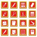 Stationery symbols icons set red