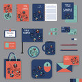 Stationery template design with blue and red ornament elements Royalty Free Stock Photo