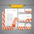 Stationery template zigzag complete set of business templates such as letterhead envelope business card etc with colourful and Royalty Free Stock Photos