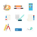 Stationery tools web app flat vector icon: art paint palette Royalty Free Stock Photo