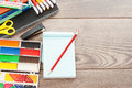 Stationery a on wooden table Stock Images