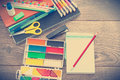 Stationery a on wooden table Royalty Free Stock Photography