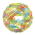 Stationery world sphere made of paper clips green blue yellow red isolated on white Stock Images