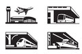 Stations of public transport in perspective vector illustration Stock Photos